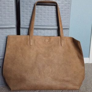 Taupe/Light Brown Leather Tote